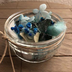 Droogbloem bakje blauw
