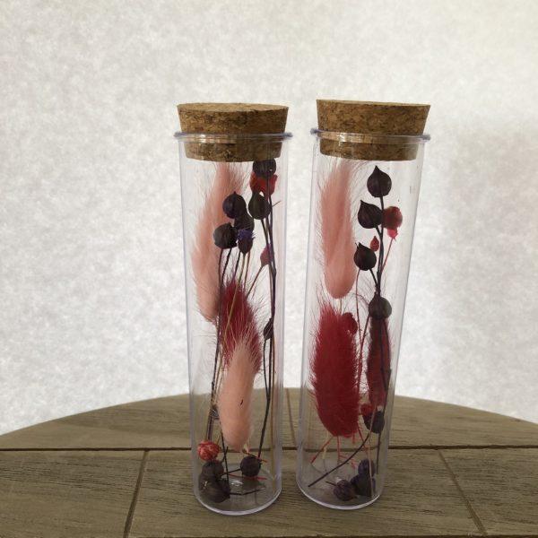 Droogbloemen in reageerbuis - 2 Roze Rood - 2