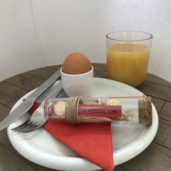 Droogbloemen in reageerbuis - Moederdag Ontbijt
